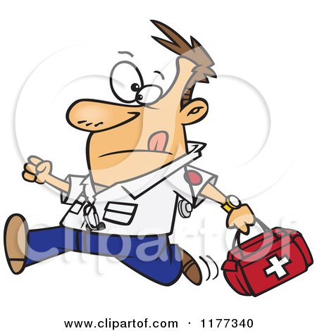 Cartoon of a Running Male EMT with a First Aid Kit - Royalty Free Vector Clipart by toonaday