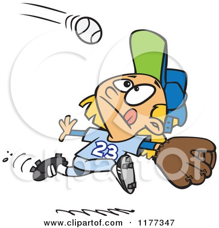 Cartoon of a Focused Girl Running to Catch a Baseball - Royalty Free Vector Clipart by toonaday