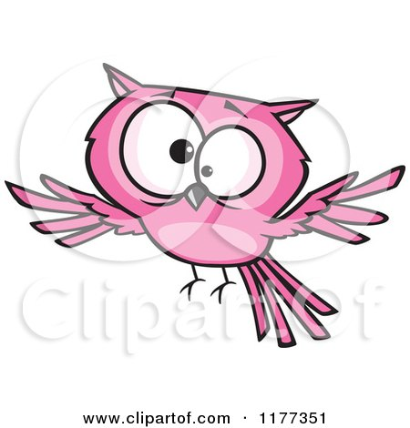 Cartoon of a Cross Eyed Pink Owl - Royalty Free Vector Clipart by toonaday