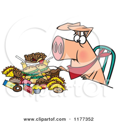 Cartoon of a Pigging out Hog with Junk Food - Royalty Free Vector Clipart by toonaday
