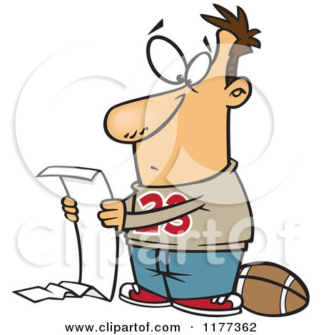 Cartoon of a Man Going over a Long Honey Do List but Wanting to Play Football - Royalty Free Vector Clipart by toonaday