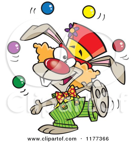 Cartoon of a Juggling Funny Bunny Clown - Royalty Free Vector Clipart by toonaday