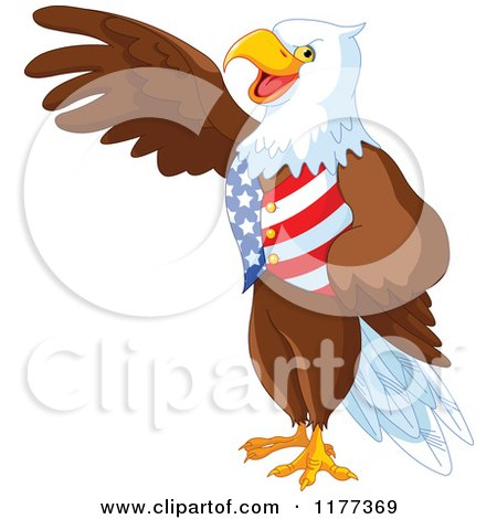 Cartoon of a Patriotic American Bald Eagle Presenting and Wearing a USA Vest - Royalty Free Vector Clipart by Pushkin
