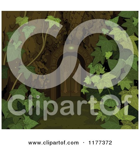 Cartoon of a Wooden Doorway Gate with Ivy - Royalty Free Vector Clipart by Pushkin