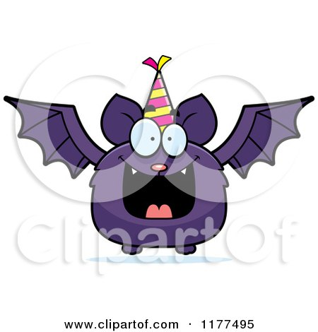 Cartoon of a Happy Birthday Bat Wearing a Party Hat - Royalty Free Vector Clipart by Cory Thoman