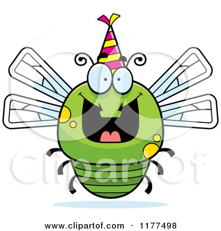 Cartoon of a Happy Birthday Dragonfly Wearing a Party Hat - Royalty Free Vector Clipart by Cory Thoman
