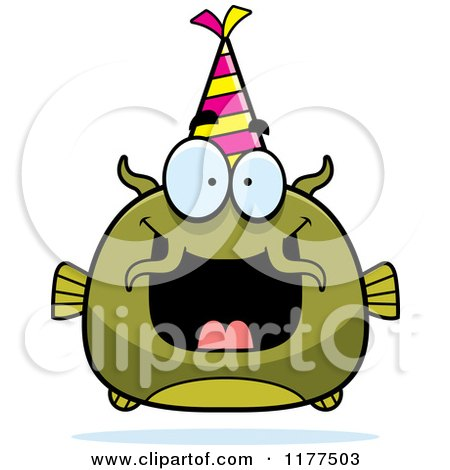 Cartoon of a Happy Birthday Catfish Wearing a Party Hat - Royalty Free Vector Clipart by Cory Thoman