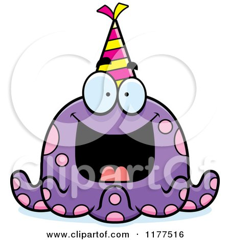 Cartoon of a Happy Birthday Octopus Wearing a Party Hat - Royalty Free Vector Clipart by Cory Thoman