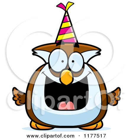 Cartoon of a Happy Birthday Owl Wearing a Party Hat - Royalty Free Vector Clipart by Cory Thoman