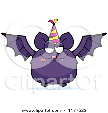 Cartoon of a Drunk Birthday Bat Wearing a Party Hat - Royalty Free Vector Clipart by Cory Thoman