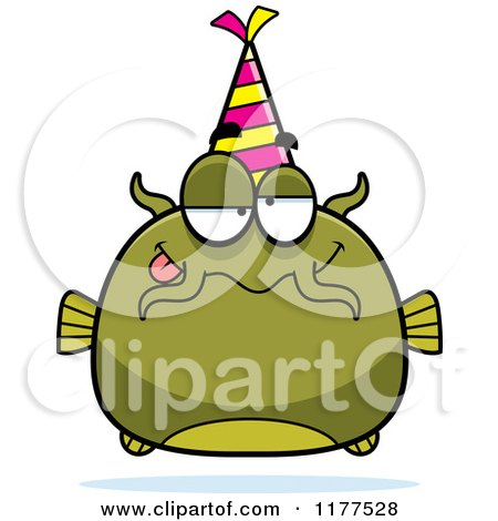 Cartoon of a Drunk Birthday Catfish Wearing a Party Hat - Royalty Free Vector Clipart by Cory Thoman
