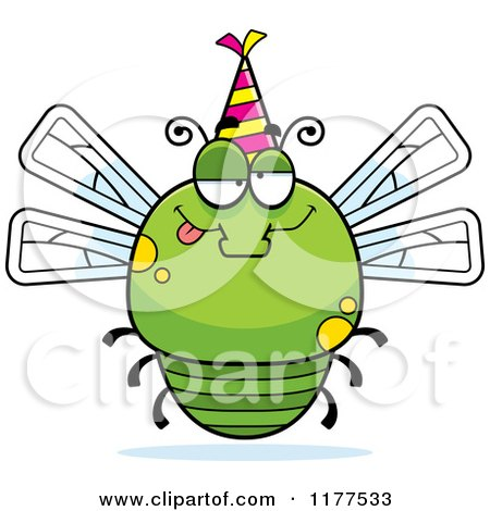 Cartoon of a Drunk Birthday Dragonfly Wearing a Party Hat - Royalty Free Vector Clipart by Cory Thoman