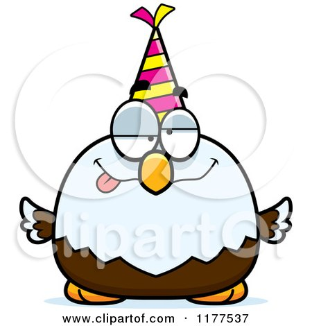 Cartoon of a Drunk Birthday Bald Eagle Wearing a Party Hat - Royalty Free Vector Clipart by Cory Thoman