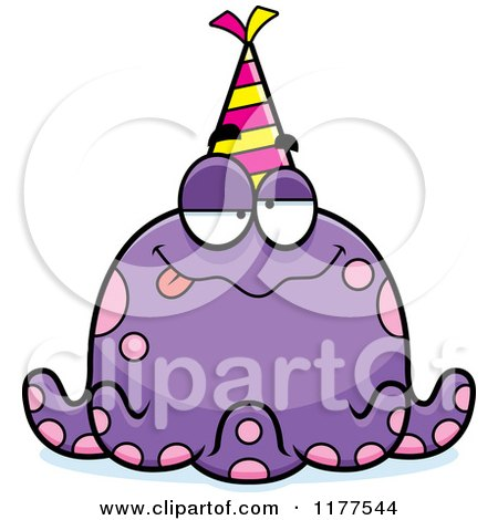 Cartoon of a Drunk Birthday Octopus Wearing a Party Hat - Royalty Free Vector Clipart by Cory Thoman