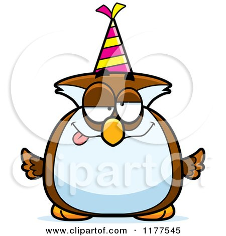 Cartoon of a Drunk Birthday Owl Wearing a Party Hat - Royalty Free Vector Clipart by Cory Thoman