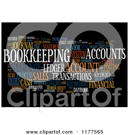 Clipart of a Colorful Bookkeeping Word Collage on Black - Royalty Free CGI Illustration by MacX