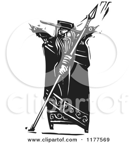 Clipart of the Norse God Odin with Crows and a Spear Black and White Woodcut - Royalty Free Vector Illustration by xunantunich