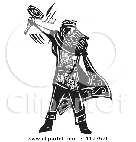 Clipart of the Norse God Thor with a Hammer Black and White Woodcut - Royalty Free Vector Illustration by xunantunich