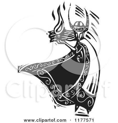Clipart of the Norse God Loki with Fire Black and White Woodcut - Royalty Free Vector Illustration by xunantunich