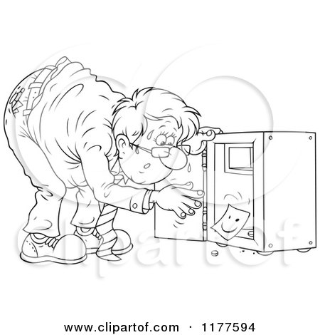 Cartoon of an Outlined Stressed Man Discovering That His Vault Has Been Emptied - Royalty Free Vector Clipart by Alex Bannykh