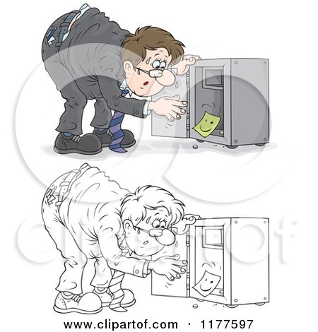 Cartoon of a Colored and Outlined Stressed Man Discovering That His Vault Has Been Emptied - Royalty Free Vector Clipart by Alex Bannykh