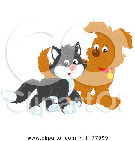 Cute Tuxedo Cat and Puppy Walking Posters, Art Prints