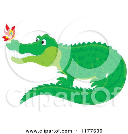 Cartoon of a Butterfly on a Crocodiles Nose - Royalty Free Vector Clipart by Alex Bannykh