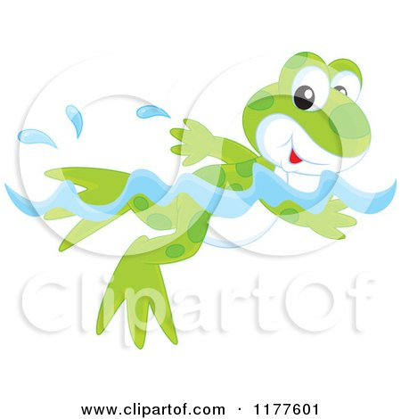 Cartoon of a Cute Frog Swimming - Royalty Free Vector Clipart by Alex Bannykh