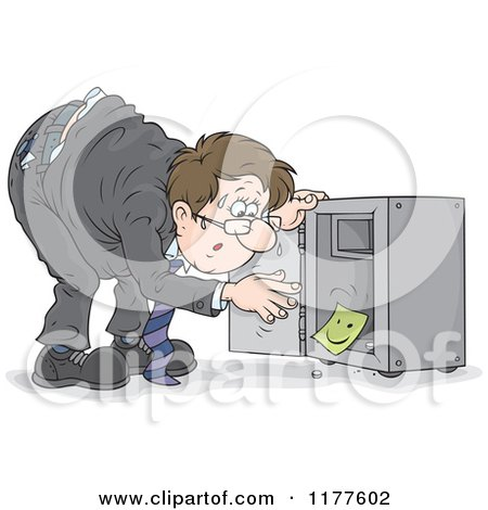 Cartoon of a Stressed Man Discovering That His Vault Has Been Emptied - Royalty Free Vector Clipart by Alex Bannykh