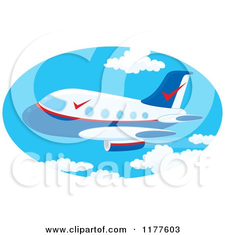 Cartoon of a Commercial Airliner Jet in the Sky - Royalty Free Vector Clipart by Alex Bannykh
