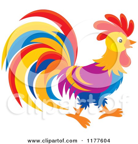 Colorful Rooster in Profile Posters, Art Prints