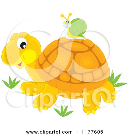 Cartoon of a Snail Riding on a Cute Tortoise - Royalty Free Vector Clipart by Alex Bannykh