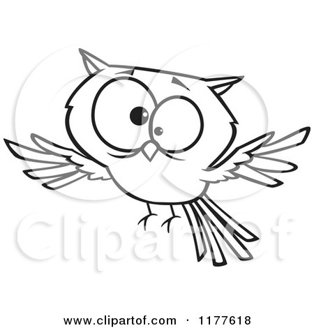 Cartoon of an Outlined an Outlined Cross Eyed Owl - Royalty Free Vector Clipart by toonaday