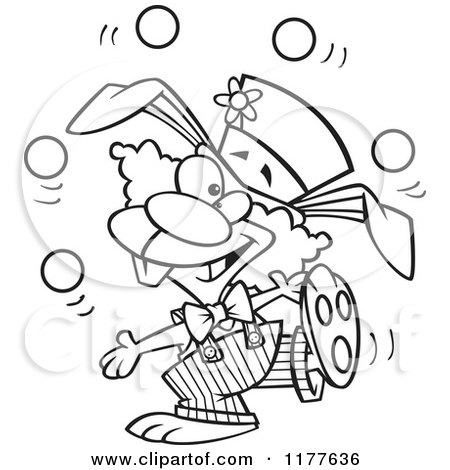 Cartoon of an Outlined an Outlined Juggling Funny Bunny Clown - Royalty Free Vector Clipart by toonaday