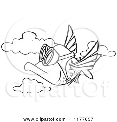 Cartoon of an Outlined an Outlined Pilot Fish Flying - Royalty Free Vector Clipart by toonaday