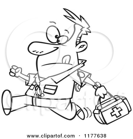 Cartoon of a Running Male EMT with a First Aid Kit - Royalty Free ...