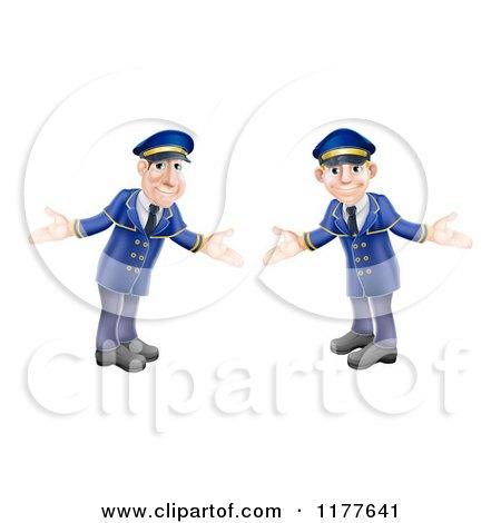 Cartoon of Welcoming Hotel Doormen in Blue Uniforms - Royalty Free Vector Clipart by AtStockIllustration