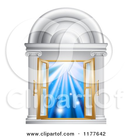 Clipart of an Open French Doors in a Marble Doorway with Blue Light - Royalty Free Vector Illustration by AtStockIllustration
