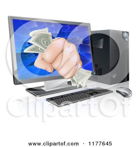 Clipart of a Fist with Cash Bursting Through a Computer Screen - Royalty Free Vector Illustration by AtStockIllustration