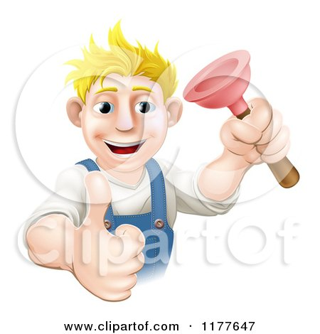 Cartoon of a Happy Plumber Holding a Plunger and a Thumb up - Royalty Free Vector Clipart by AtStockIllustration
