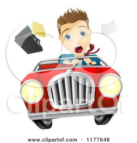 Cartoon of a Man Losing Control of a Car - Royalty Free Vector Clipart by AtStockIllustration