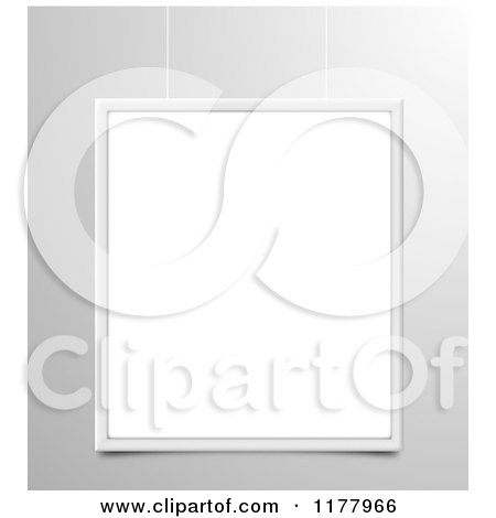Clipart of a 3d Suspended Blank Frame over Gray - Royalty Free Vector Illustration by vectorace