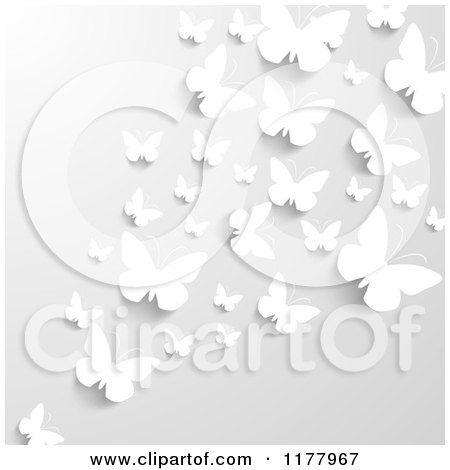 Clipart of a Gray Background with White Butterflies Wna Shadows - Royalty Free Vector Illustration by vectorace