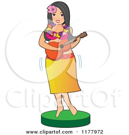 Cartoon of a Hawaiian Hula Girl Playing a Guitar - Royalty Free Vector Clipart by Maria Bell