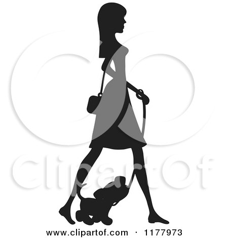 Cartoon of a Stylish Silhouetted Woman Walking with Her Puppy - Royalty Free Vector Clipart by Maria Bell