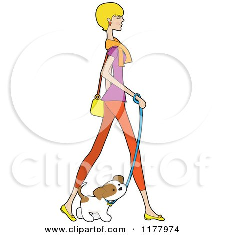 Cartoon of a Stylish Blond Woman Walking with Her Puppy - Royalty Free Vector Clipart by Maria Bell