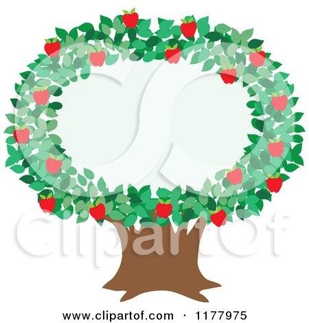 Cartoon of an Apple Tree with a Foliage Frame - Royalty Free Vector Clipart by Maria Bell