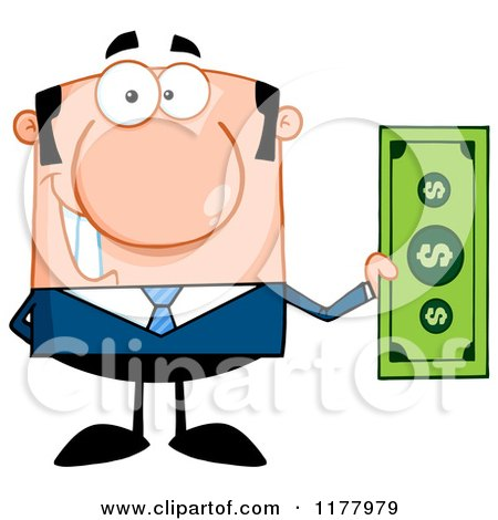 Cartoon of a Caucasian Businessman Holding a Dollar Bill - Royalty Free Vector Clipart by Hit Toon