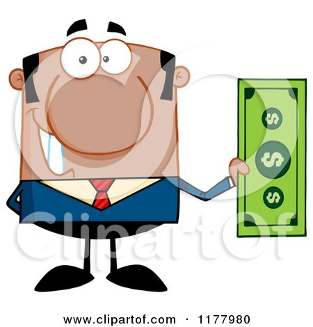 Cartoon of a Black Businessman Holding a Dollar Bill - Royalty Free Vector Clipart by Hit Toon