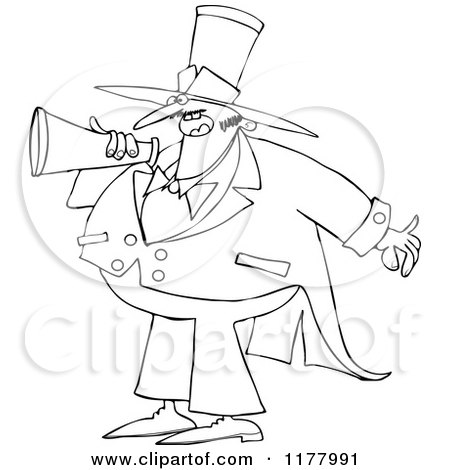 Cartoon of an Outlined Chubby Male Circus Ringmaster Announcing Through a Megaphone - Royalty Free Vector Clipart by djart